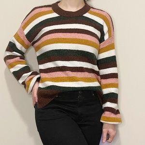 Madewell Burgundy Striped Chunky Sweater Soft XXS